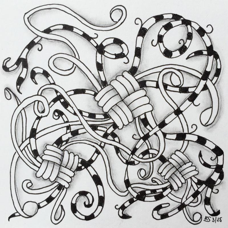 mir haben beide muster auf anhieb so gut gefallen dass ich sofort auf einem stckchen papier ein wenig herum probiert habe diesen anblick mchte ich euch - Zentangle Muster